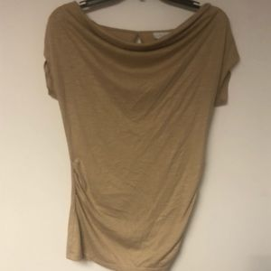 Cowl Neck Fitted Shirt- Beautiful Gold-Tan Color!